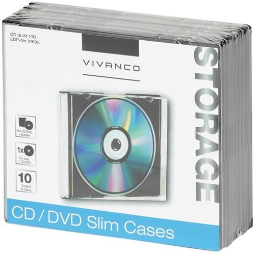 Vivanco slim case - 10x CD/DVD zwart
