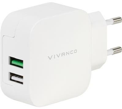 Vivanco thuislader 2xUSB 2.4A+1A wit