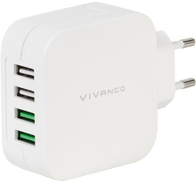 Vivanco thuislader 4xUSB 2x2.4A+2x1A Quick Charge wit
