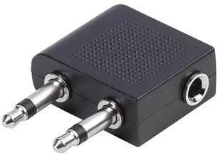 Vivanco Vliegtuig adapter 2x Jack 3.5 plug -> stereo 3.5 soc
