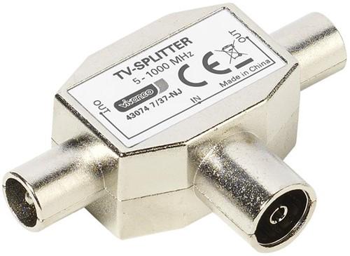 Vivanco Antenne TV splitter 1x socket <-> 2x plug