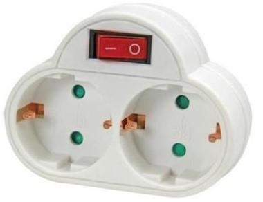 Deltac bulk verdeelstekker <-> 2x randaarde socket wit